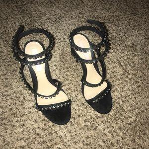 Black Studded Wrap Around Heels